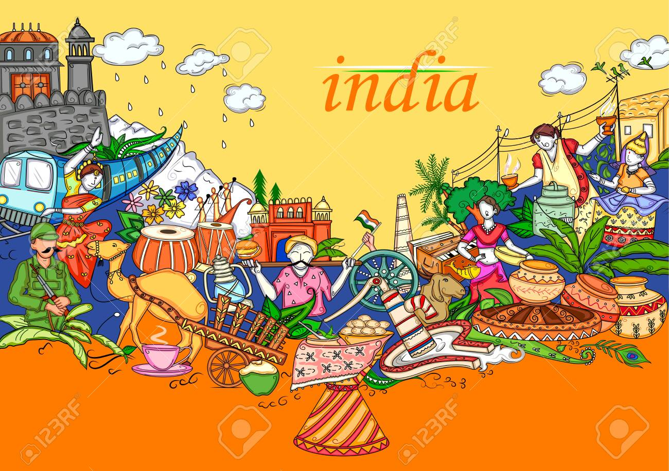 Indian collage illustration showing culture, tradition and festival of India - 128770732