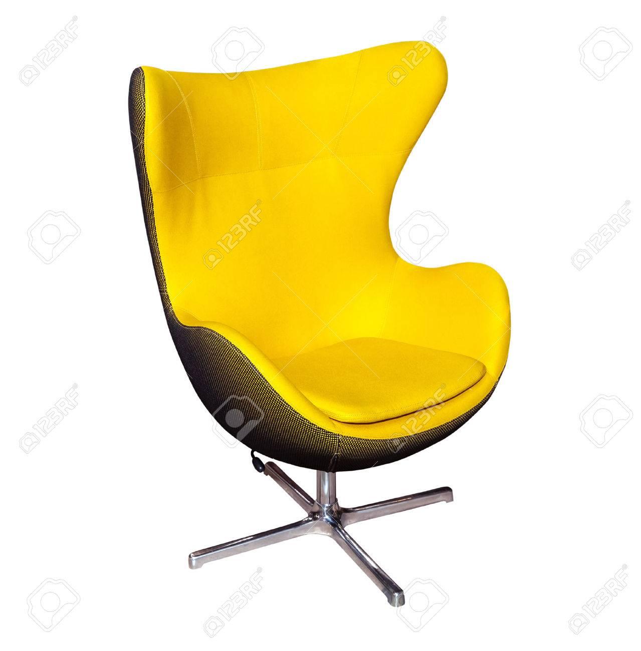 Chaise De Bureau Jaune Moderne Isole Sur Fond Blanc Banque DImages