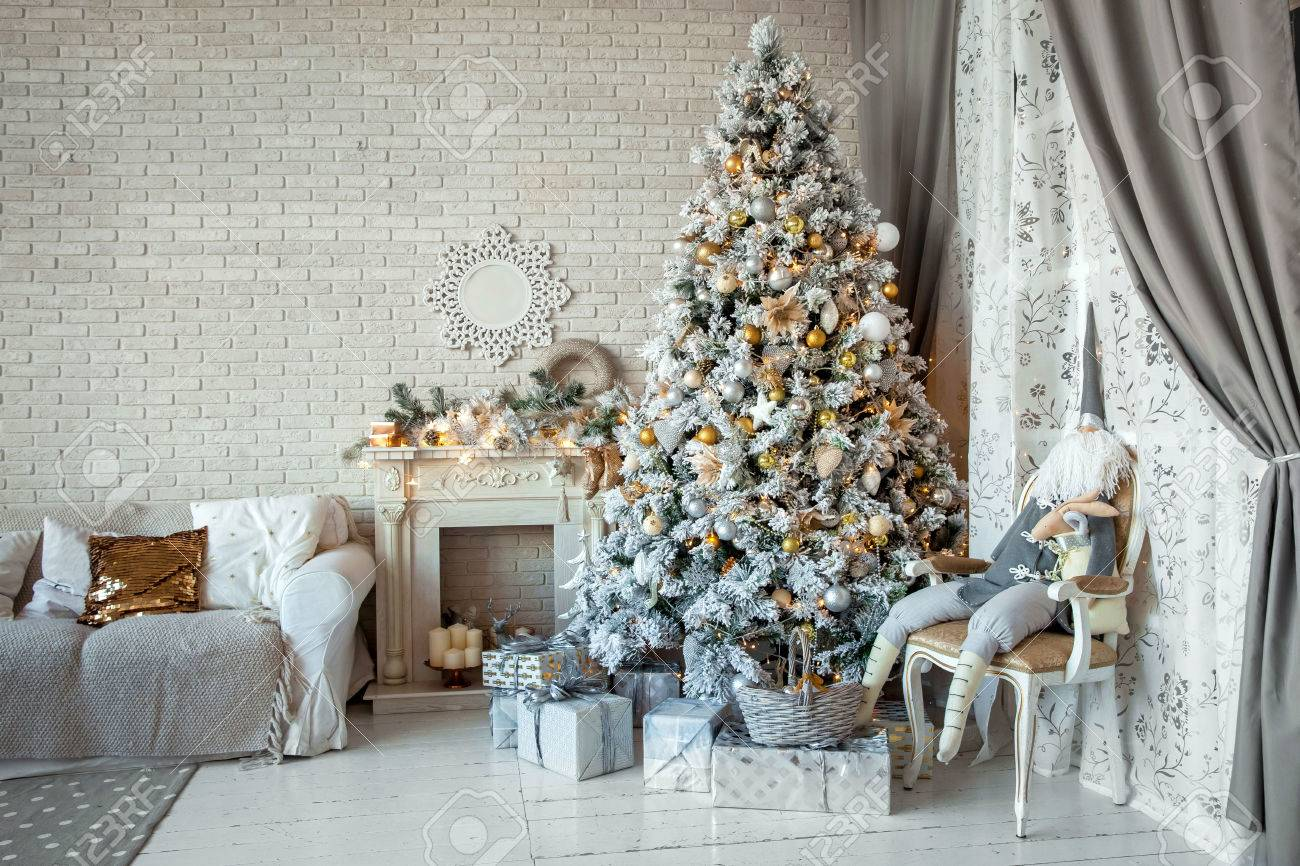 Christmas and New Year decorated interior room with presents and New year tree - 46894147