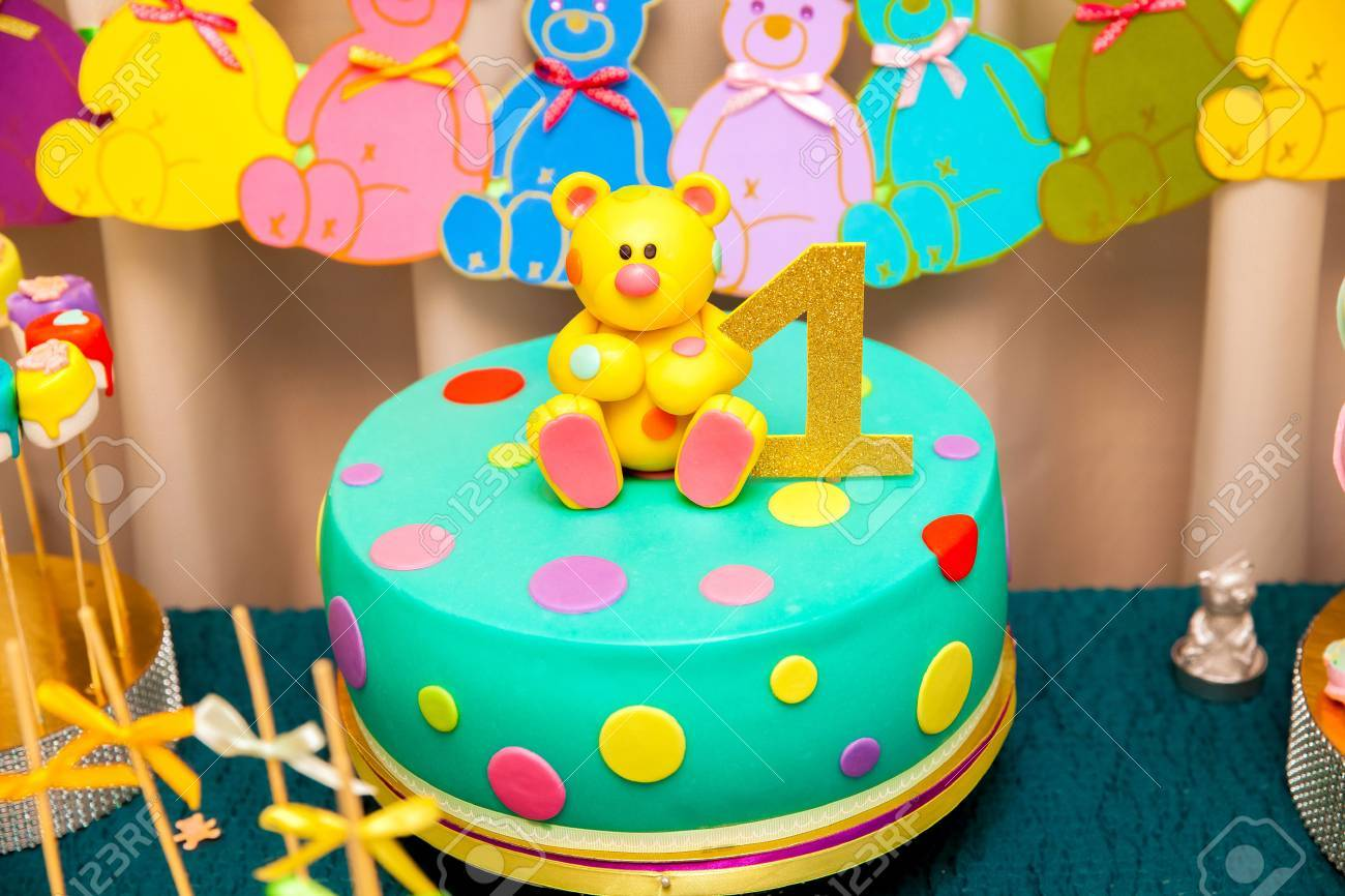 1st Year Kids Birthday Cake With Sweet Bear On The Top And Number