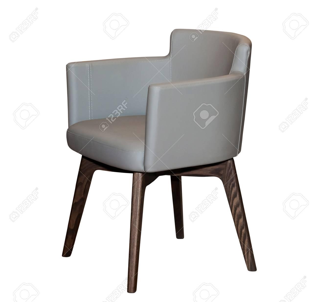 Beeindruckend Stuhl Leder Grau Galerie Von Moderne Isoliert Auf Weißen Hintergrund Standard-bild -