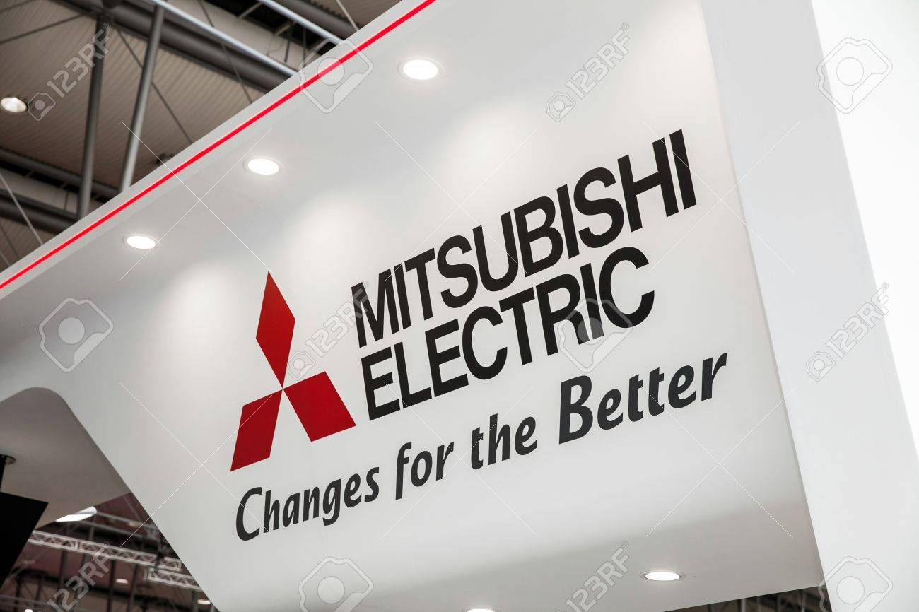 Mitsubishi Electric Logo Sign On Exhibition Fair Cebit 2017 In Hannover Messe Germany Stock Photo