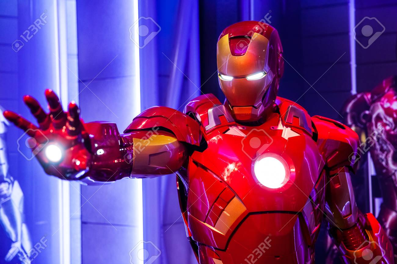 Wax figure of Tony Stark the Iron Man from Marvel comics in Madame Tussauds Wax museum in Amsterdam, Netherlands - 111808656