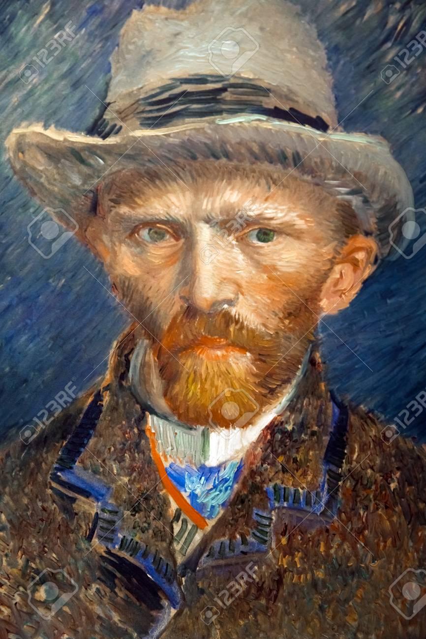 Portrait artwork of famous painter Vincent van Gogh  Close up