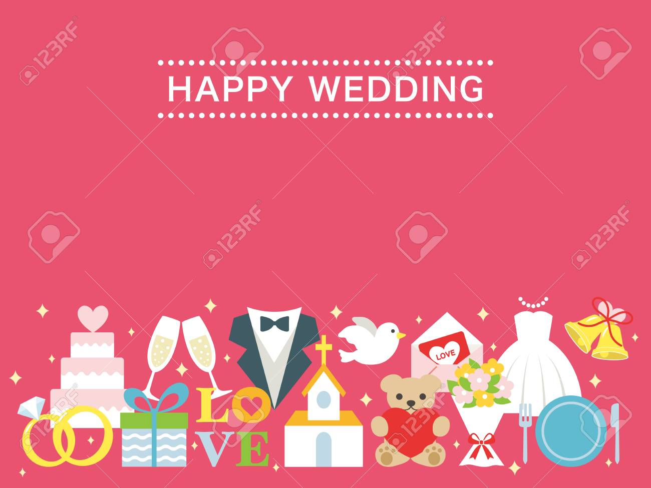 Happy wedding greeting card royalty free cliparts vectors and happy wedding greeting card stock vector 75760158 m4hsunfo