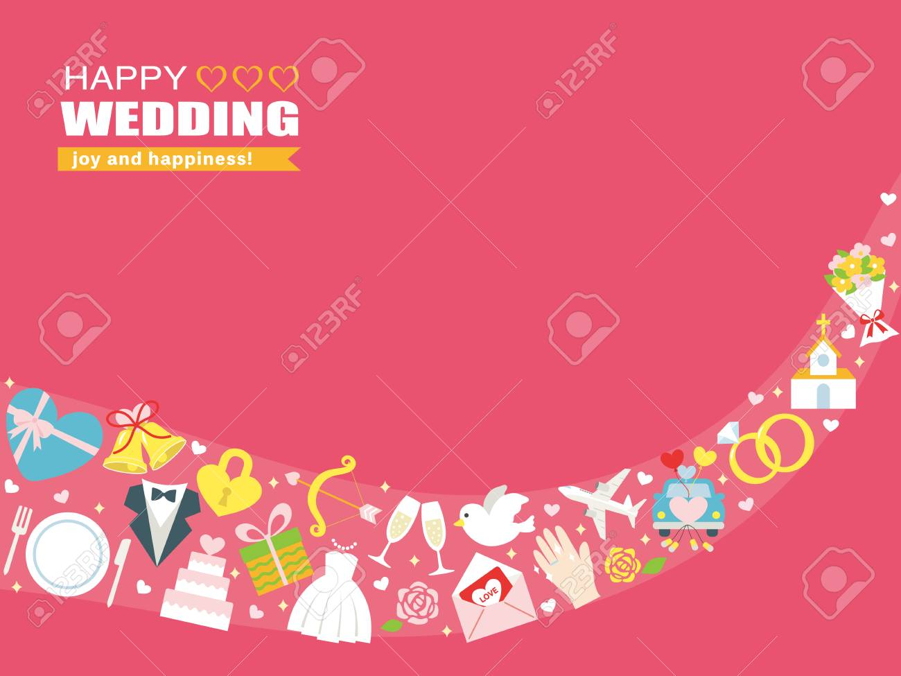 Happy Wedding Greeting Card Royalty Free Cliparts Vectors And