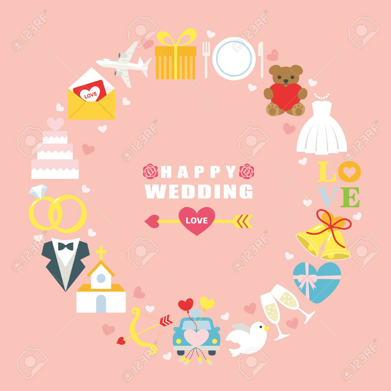 Happy wedding greeting card royalty free klipartlar vektr izimler happy wedding greeting card stok fotoraf 75768006 m4hsunfo