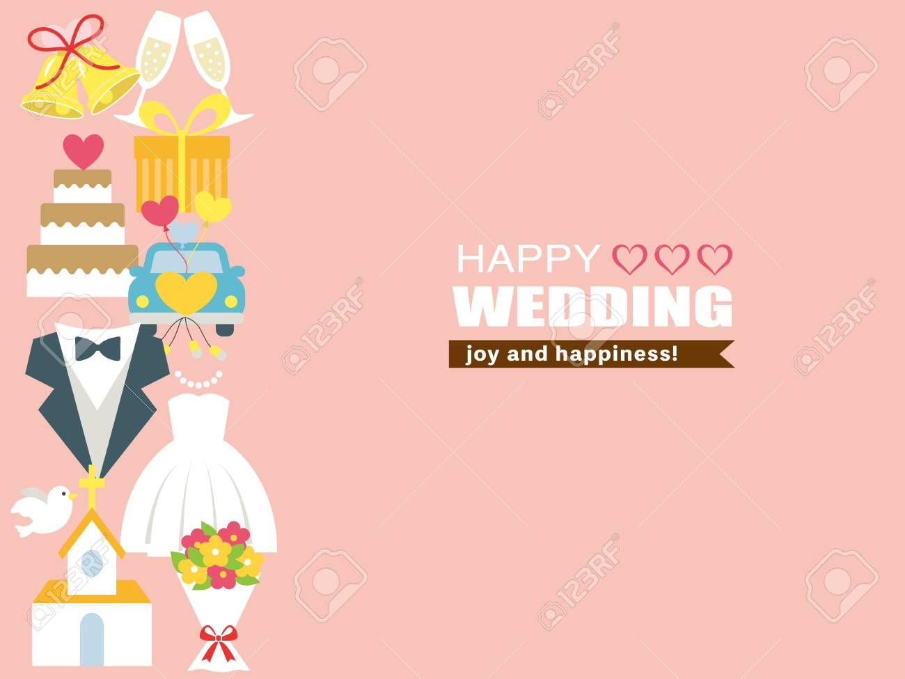Happy Wedding Greeting Card Royalty Free Cliparts Vectors And
