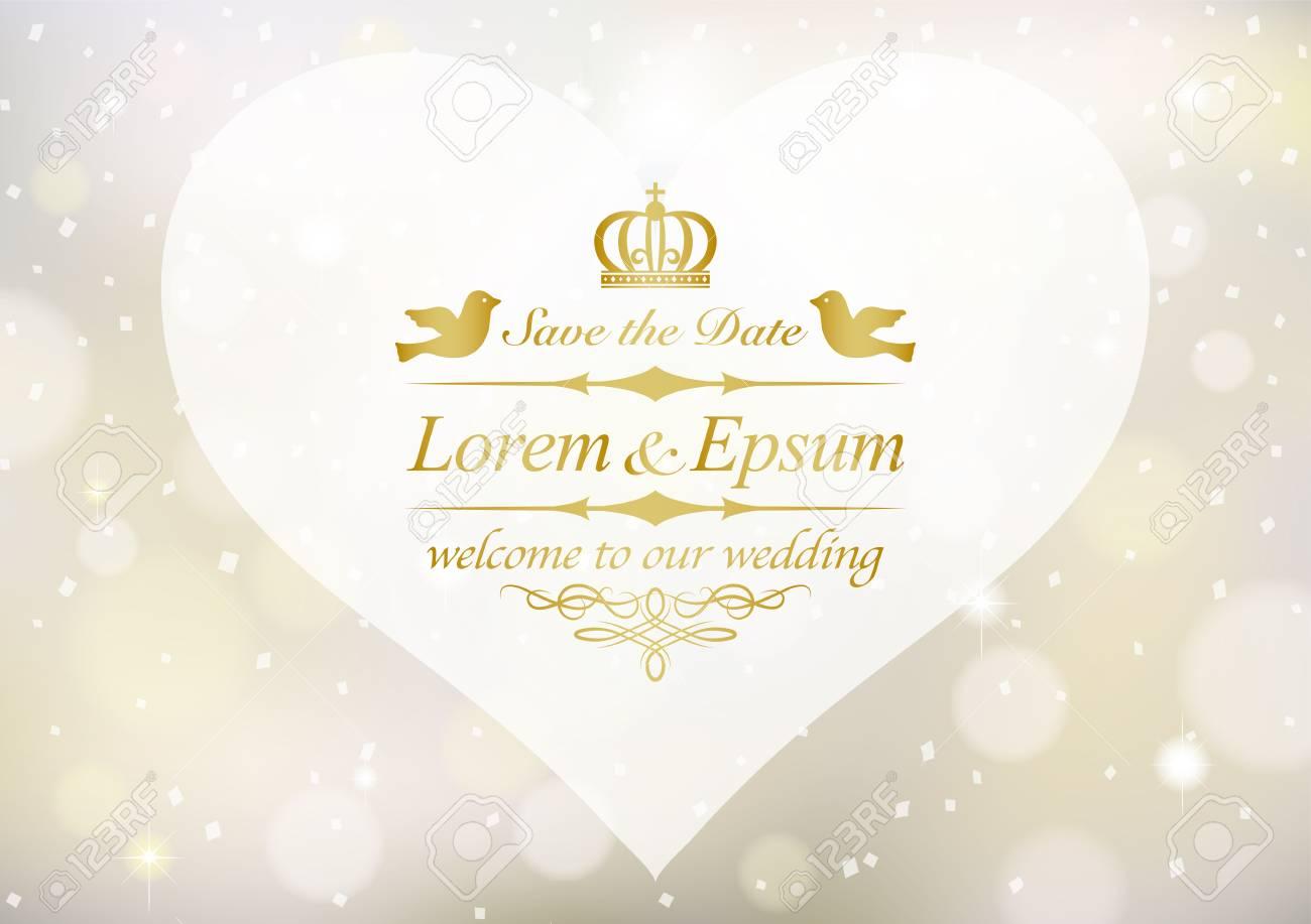 Vintage wedding invitation card - 75951882