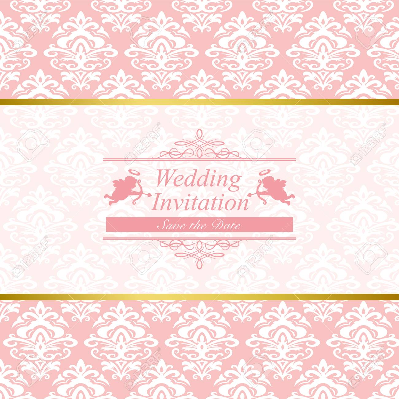 vintage wedding invitation card in pink damask background royalty free cliparts vectors and stock illustration image 75951885 vintage wedding invitation card in pink damask background