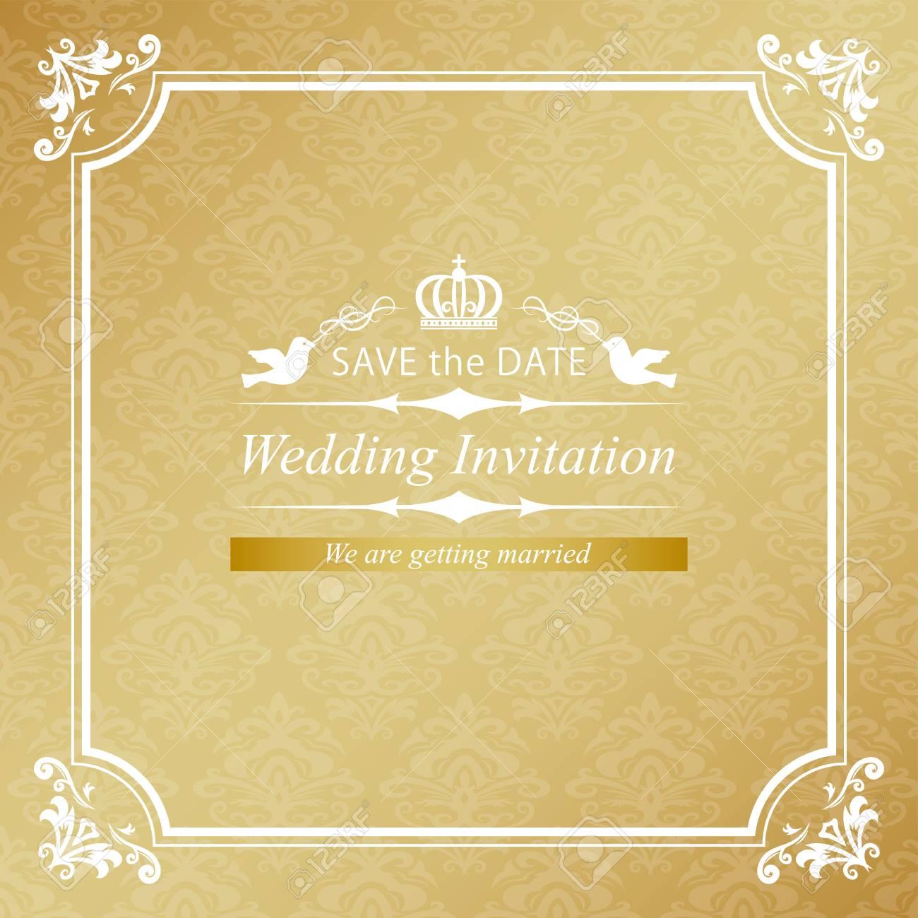 Tarjeta De Invitación De Boda Vintage Oro