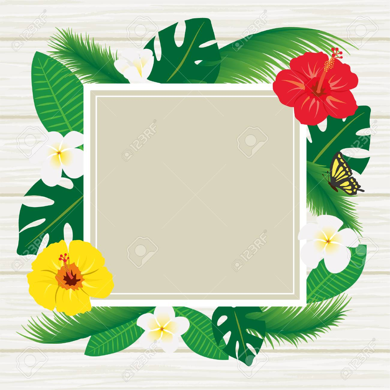 Tropical Flowers And Leaf Frames Royalty Free Cliparts, Vectors, And ...