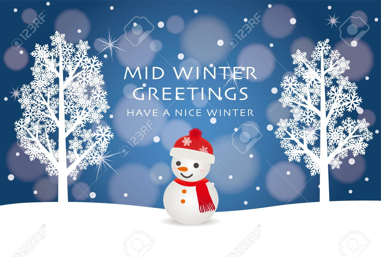 Mid Winter Greeting Card Of Snowman Royalty Free Cliparts Vectors