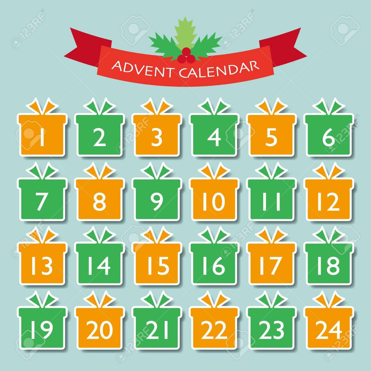 Adviento Calendario.Ilustracion De Vector De Navidad Adviento Calendario