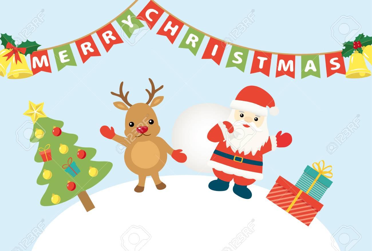 Imagenes De Papa Noel De Navidad.Feliz Navidad Papa Noel Y Dibujos Animados De Renos