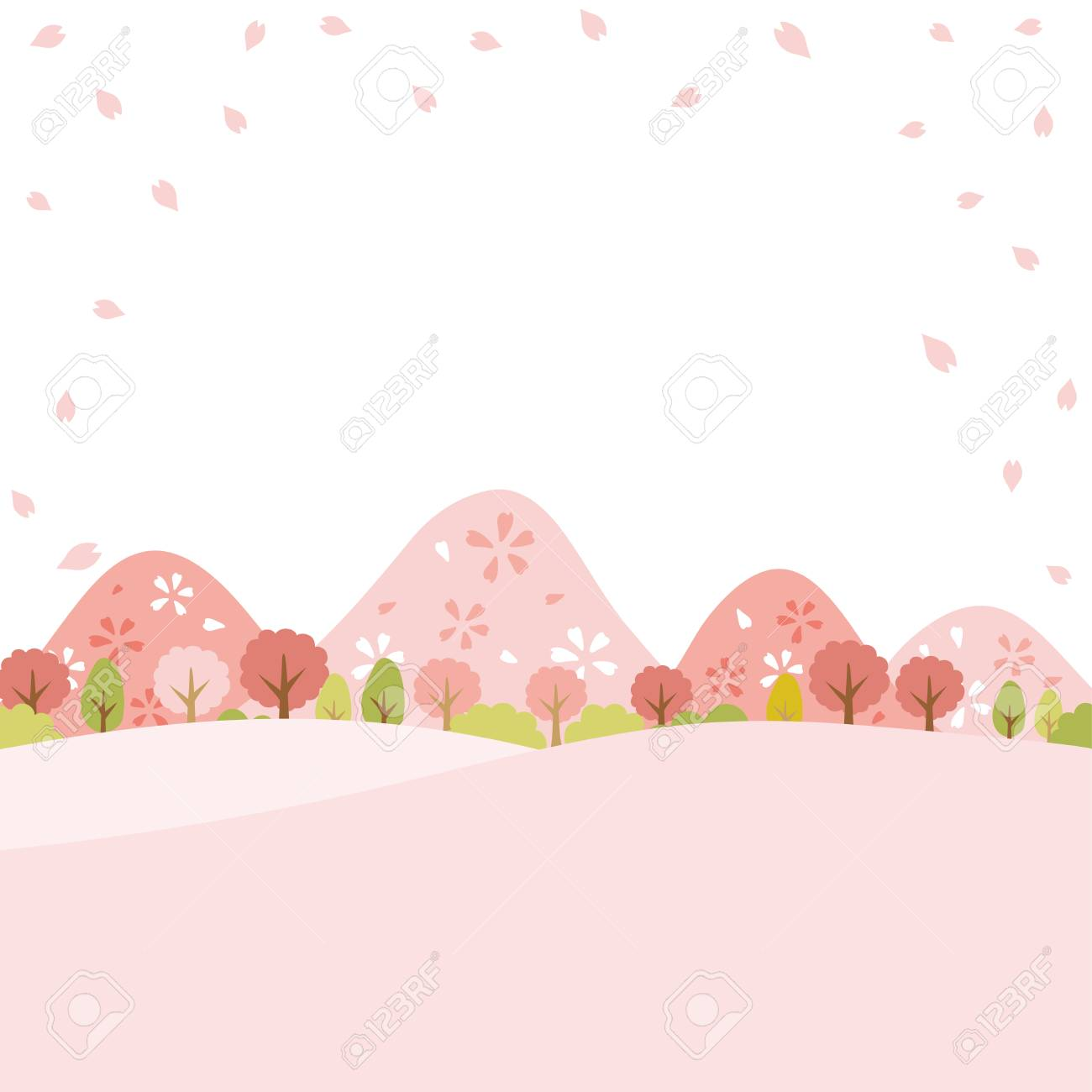 Spring town scape with cherry blossom vector background. - 95125850