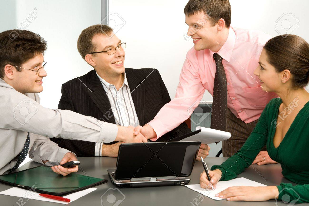 Business people making a successful deal with the partners Stock Photo - 2426565
