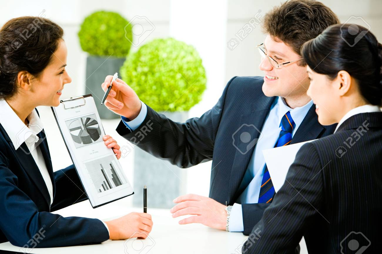 Image of business people explaining a new project to colleagues Stock Photo - 2644733