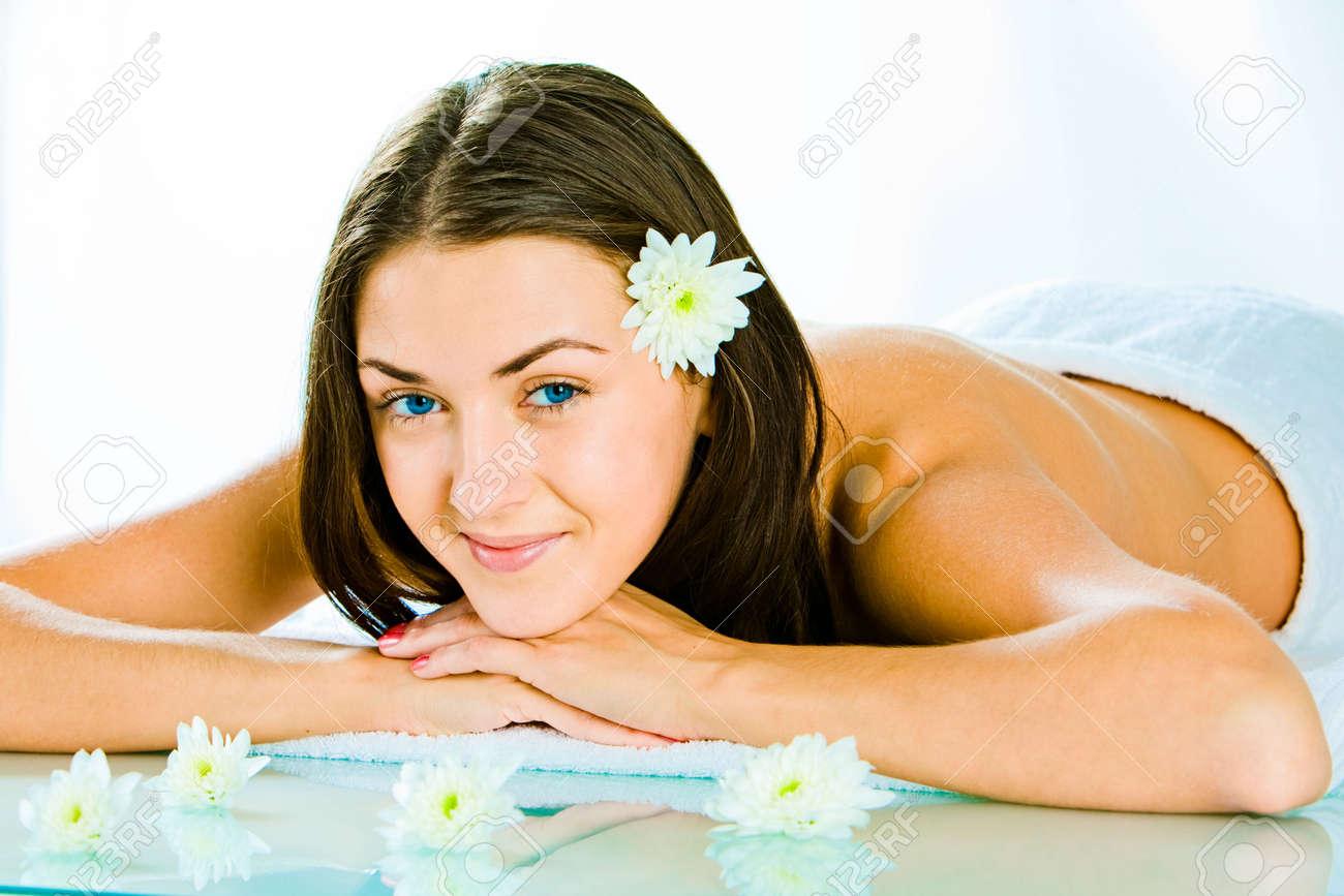 Portrait of happy attractive woman resting in the salon Stock Photo - 2738296