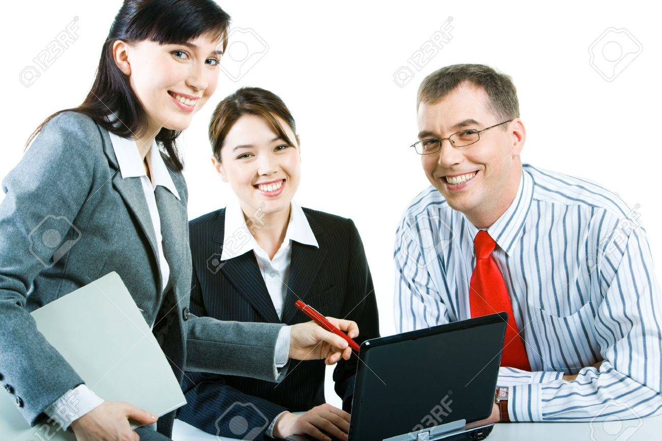 Business people looking at camera during discussing a computer work Stock Photo - 2913307