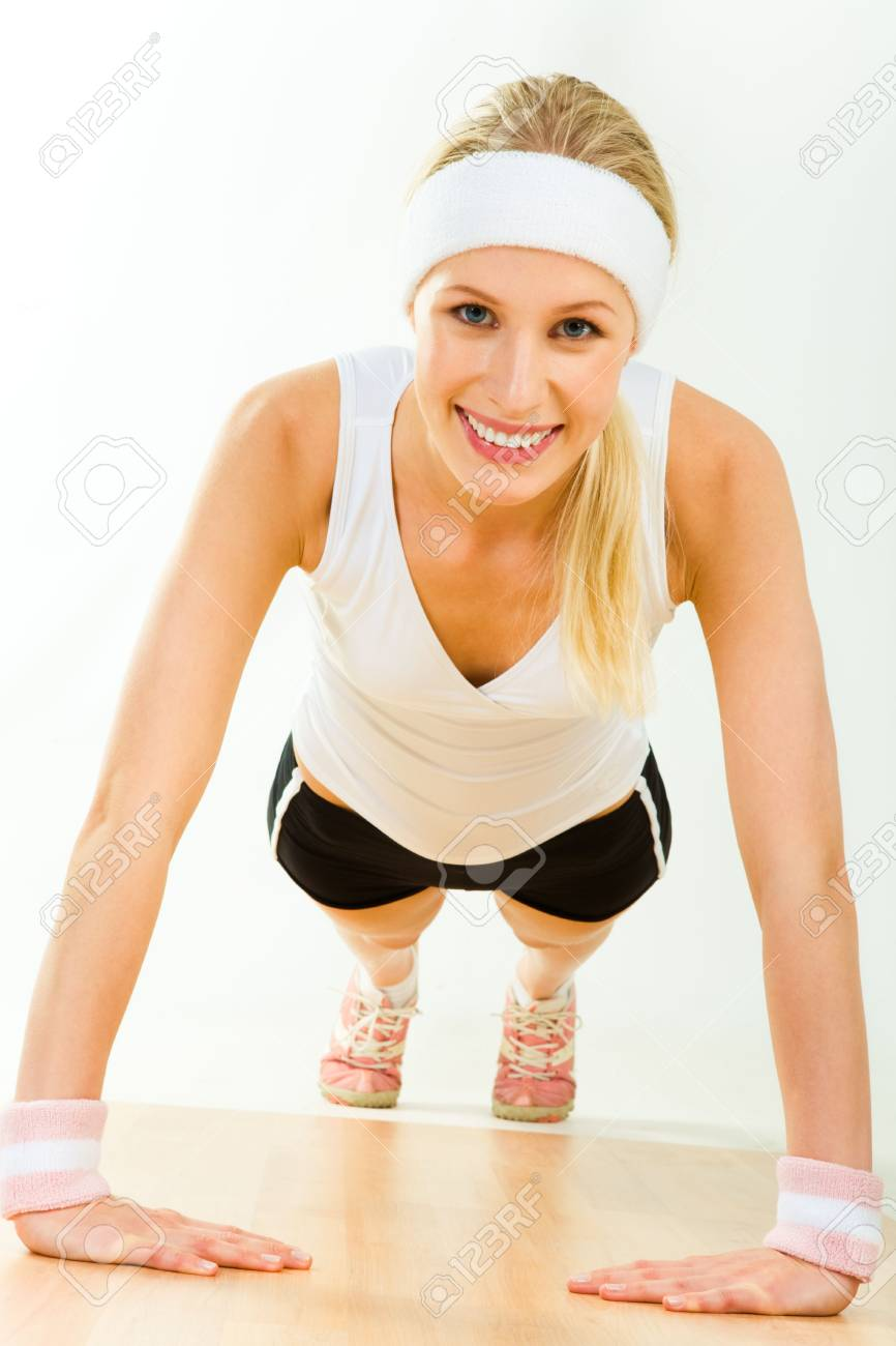 Image of young attractive woman doing physical exercise Stock Photo - 3118024