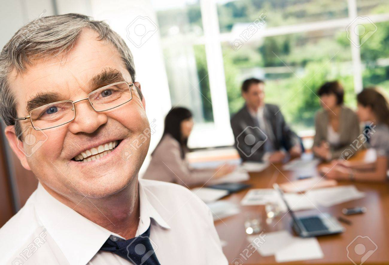 Photo of confident businessman with smile during a conference Stock Photo - 3275713