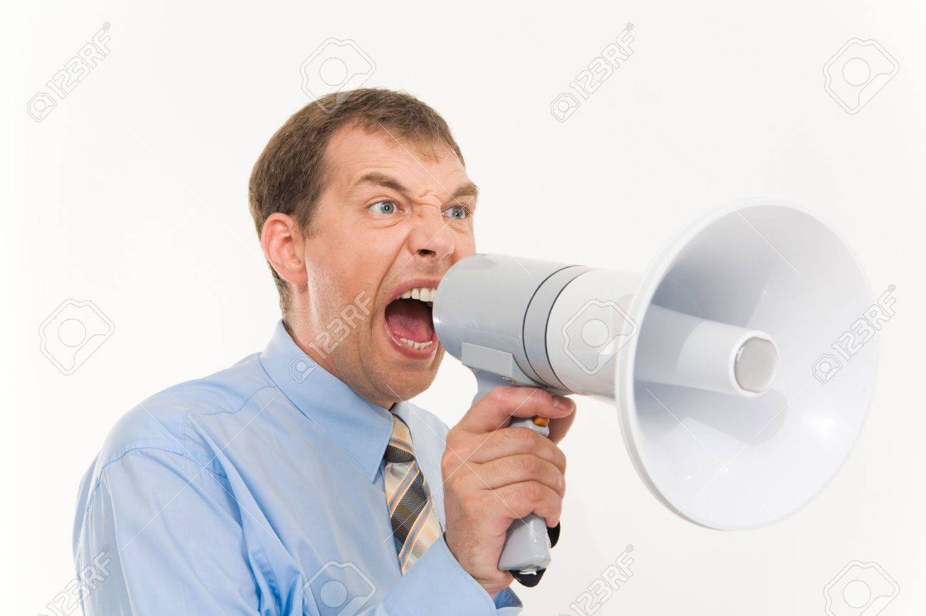 Photo of businessman with megaphone in hand screaming into it Stock Photo - 3315839