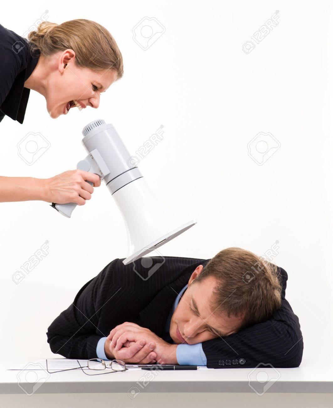 Portrait of businesswoman speaking to her boss �wake up� Stock Photo - 3315828