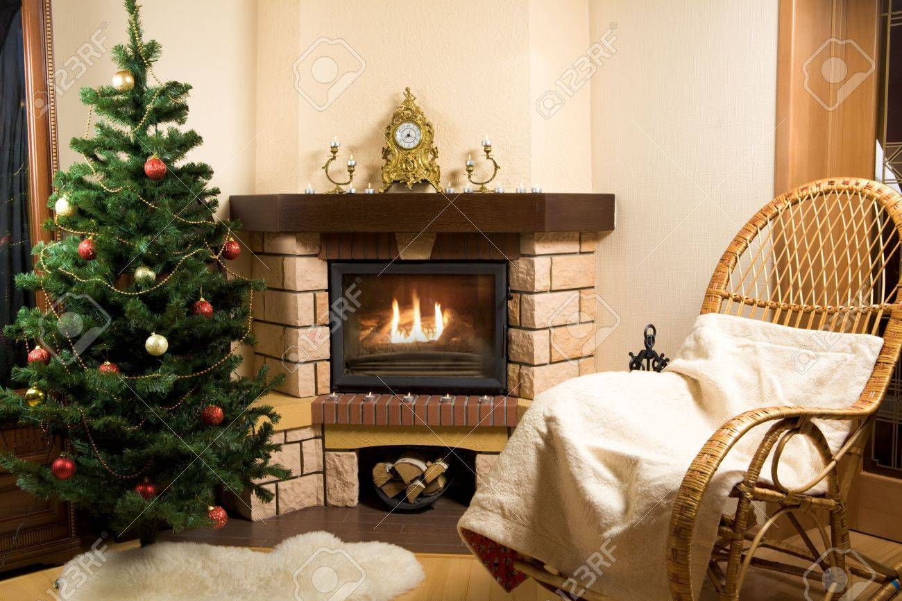 Image of house room with rocking-chair, Christmas tree, fireplace in it Stock Photo - 3858900