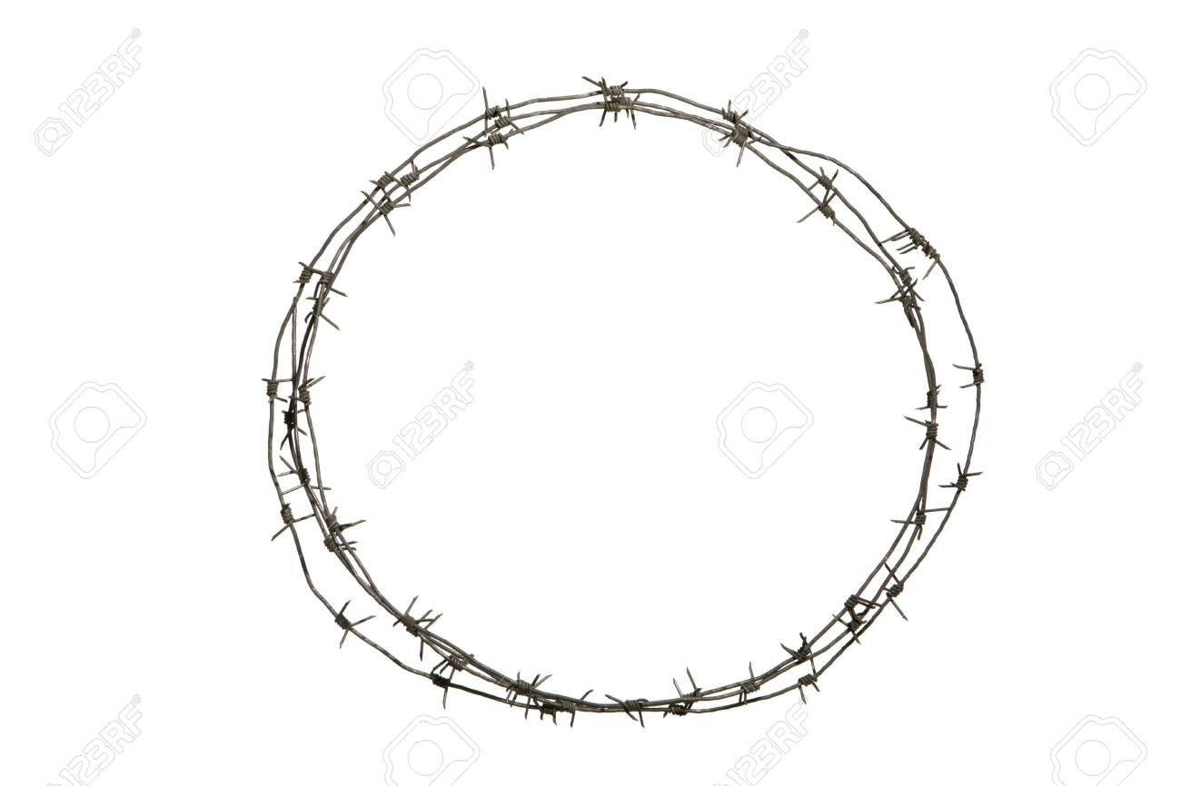 Image Of Round Diadem Made Up Of Barbed Wire Over White Background ...