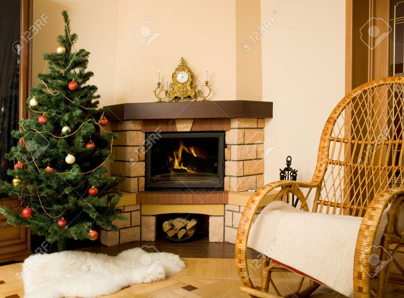 Photo of interior of room prepared for celebrating Christmas day Stock Photo - 6075083
