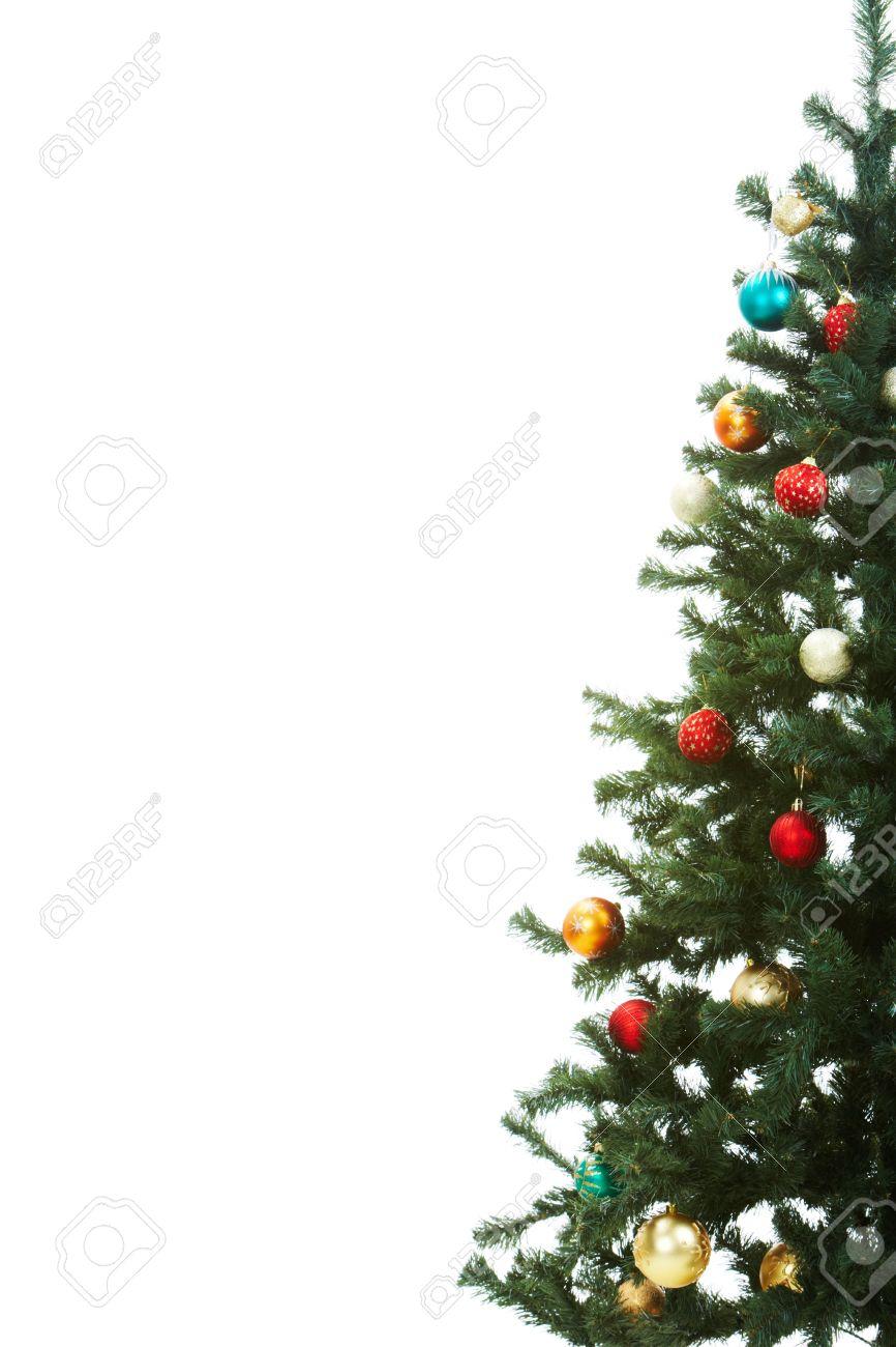 Immagini Abete Di Natale.La Meta Dell Albero Di Abete Di Natale Decorato Con Palle Giocattolo Rosso E Dorato