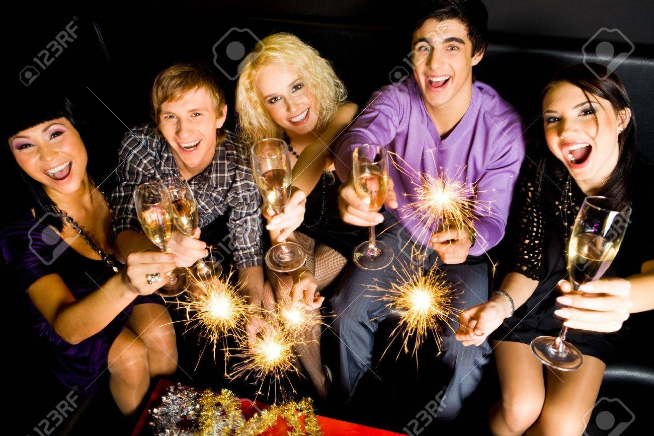 View from above of friendly company with champagne wishing you happy New Year Stock Photo - 6106988