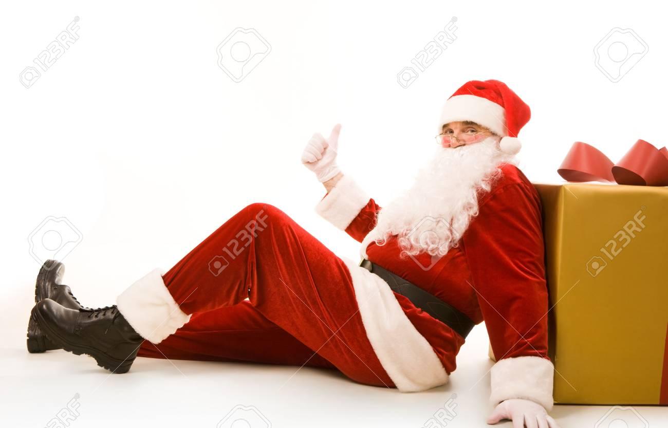 Photo of happy Santa Claus showing thumb up Stock Photo - 6107195
