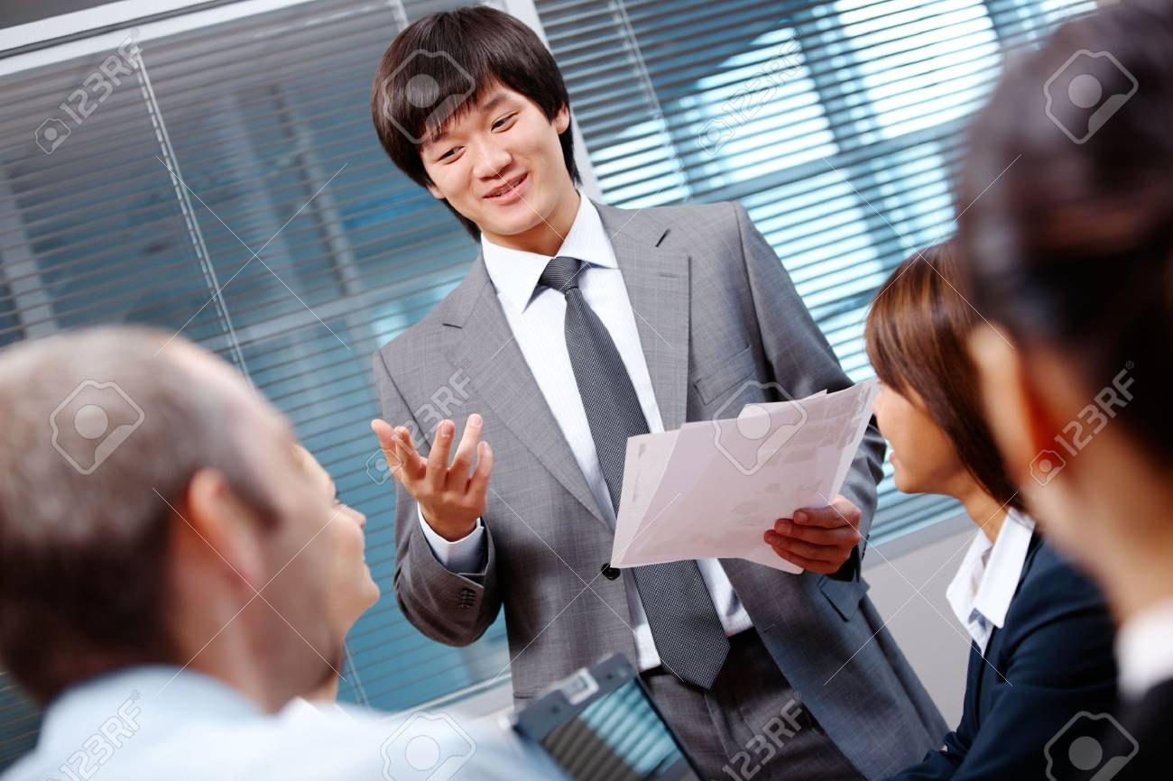 Photo of confident businessman making report to partners at seminar Stock Photo - 6669702