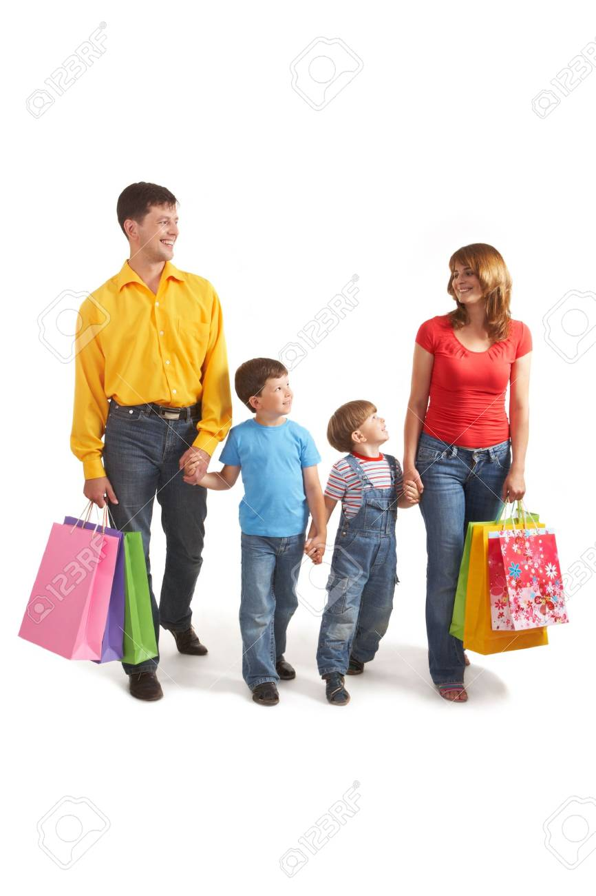 Photo of friendly parents and siblings with bags walking after shopping Stock Photo - 6669728