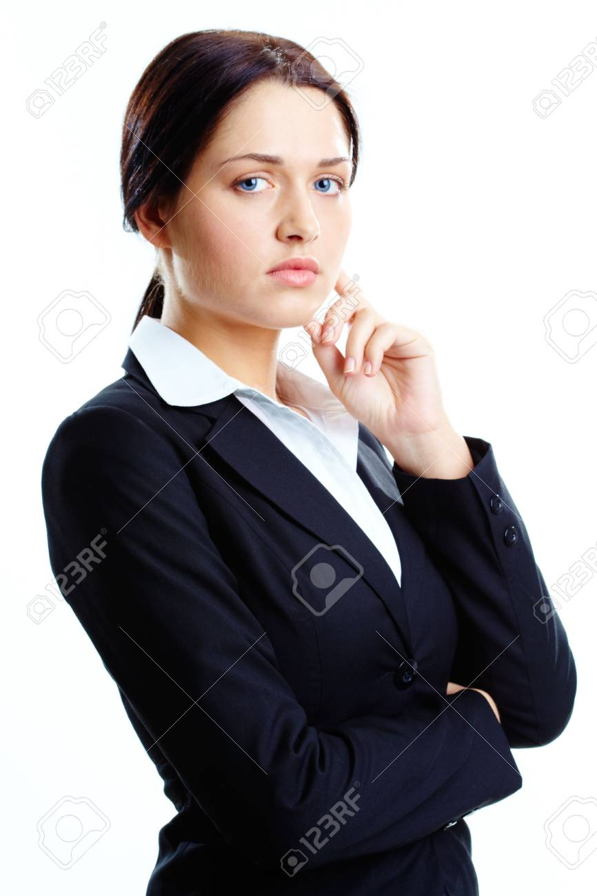 Photo of pretty girl looking at camera over white background Stock Photo - 6669850