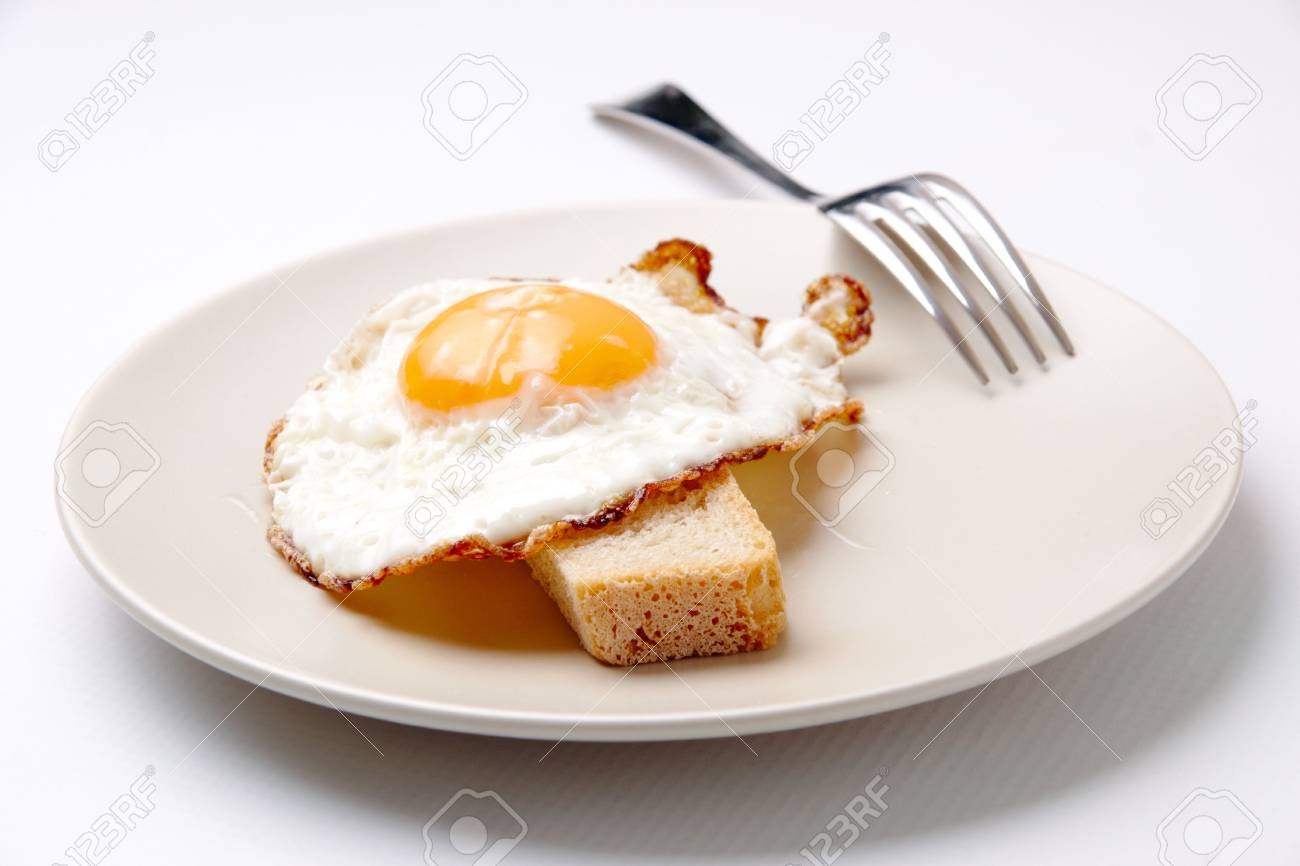 Close-up of fried egg on plate served with piece of wheat bread Stock Photo - 6669798