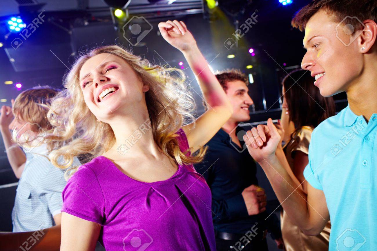 Photo of smiling friends dancing during the party Stock Photo - 6770020