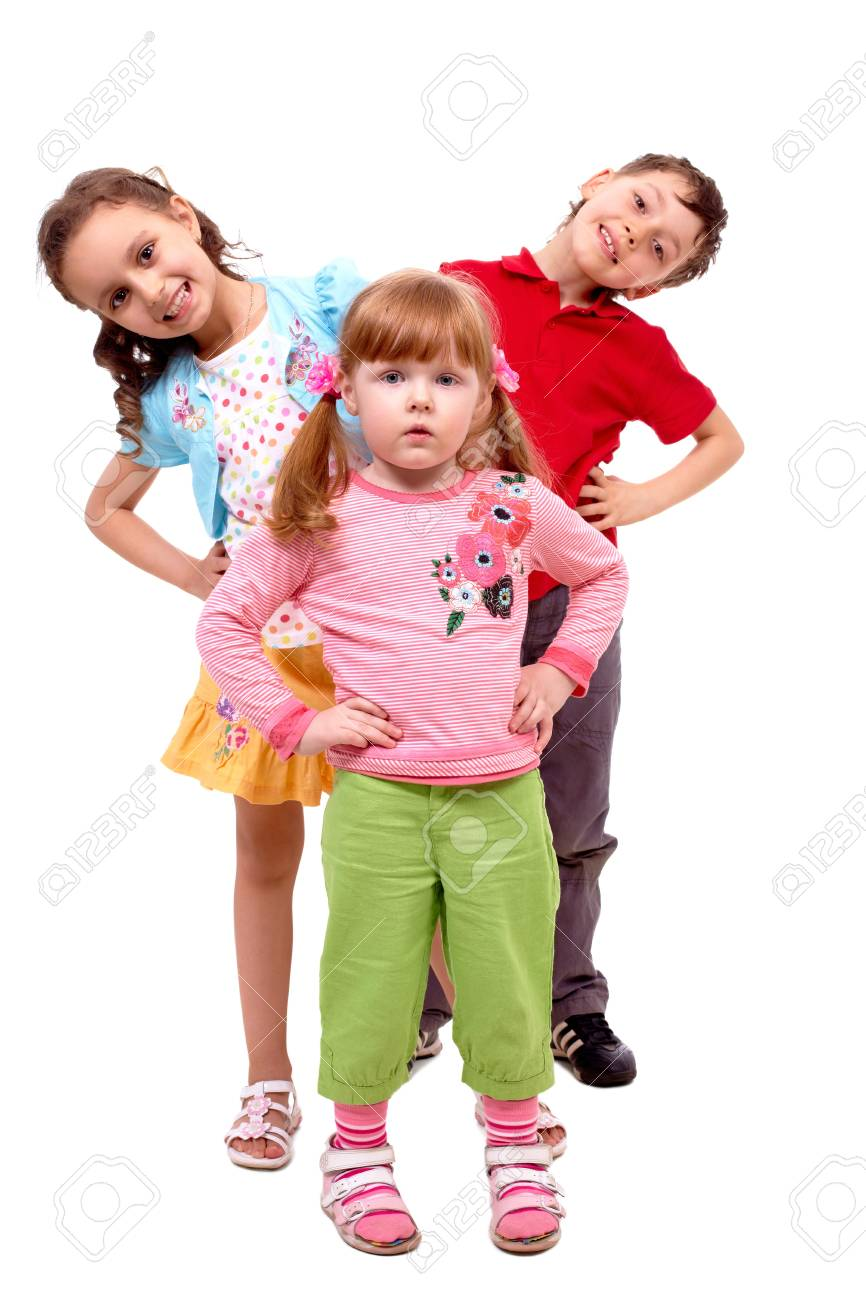 Portrait of smart girl standing before her happy friends over white background Stock Photo - 6981401