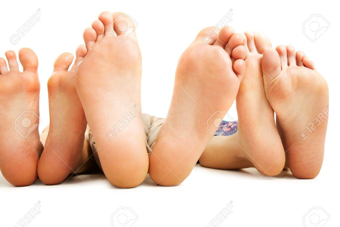 Close-up of human soles during relaxation on white background Stock Photo - 7231664