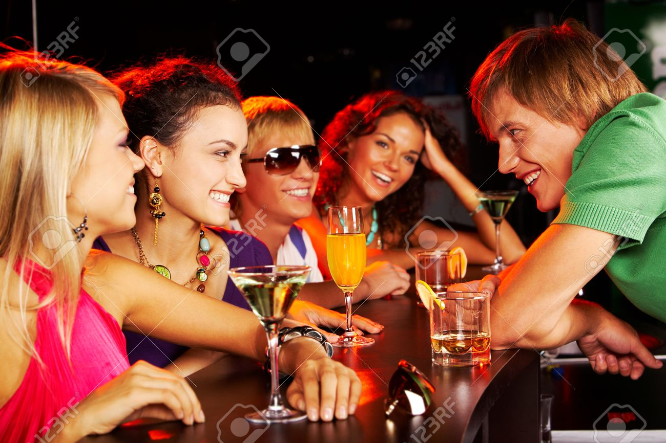 Image of happy teenagers chatting in the bar Stock Photo - 7484384
