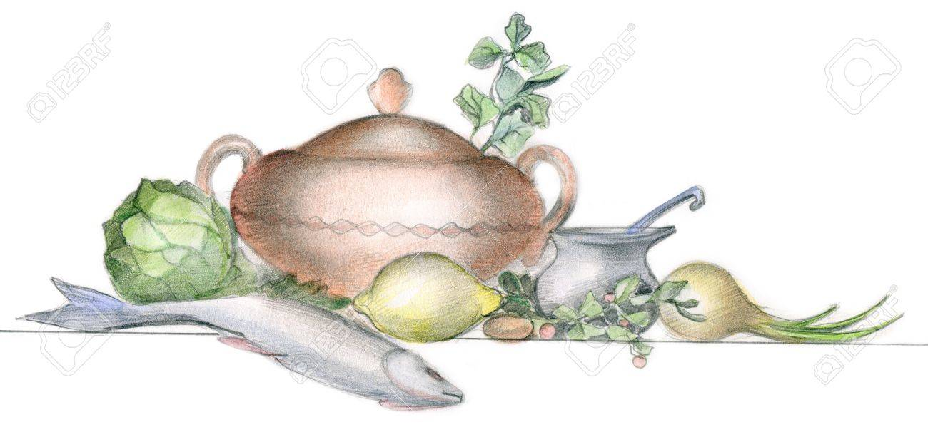 Picture of different vegatables, fish and tableware over white background Stock Photo - 7561236
