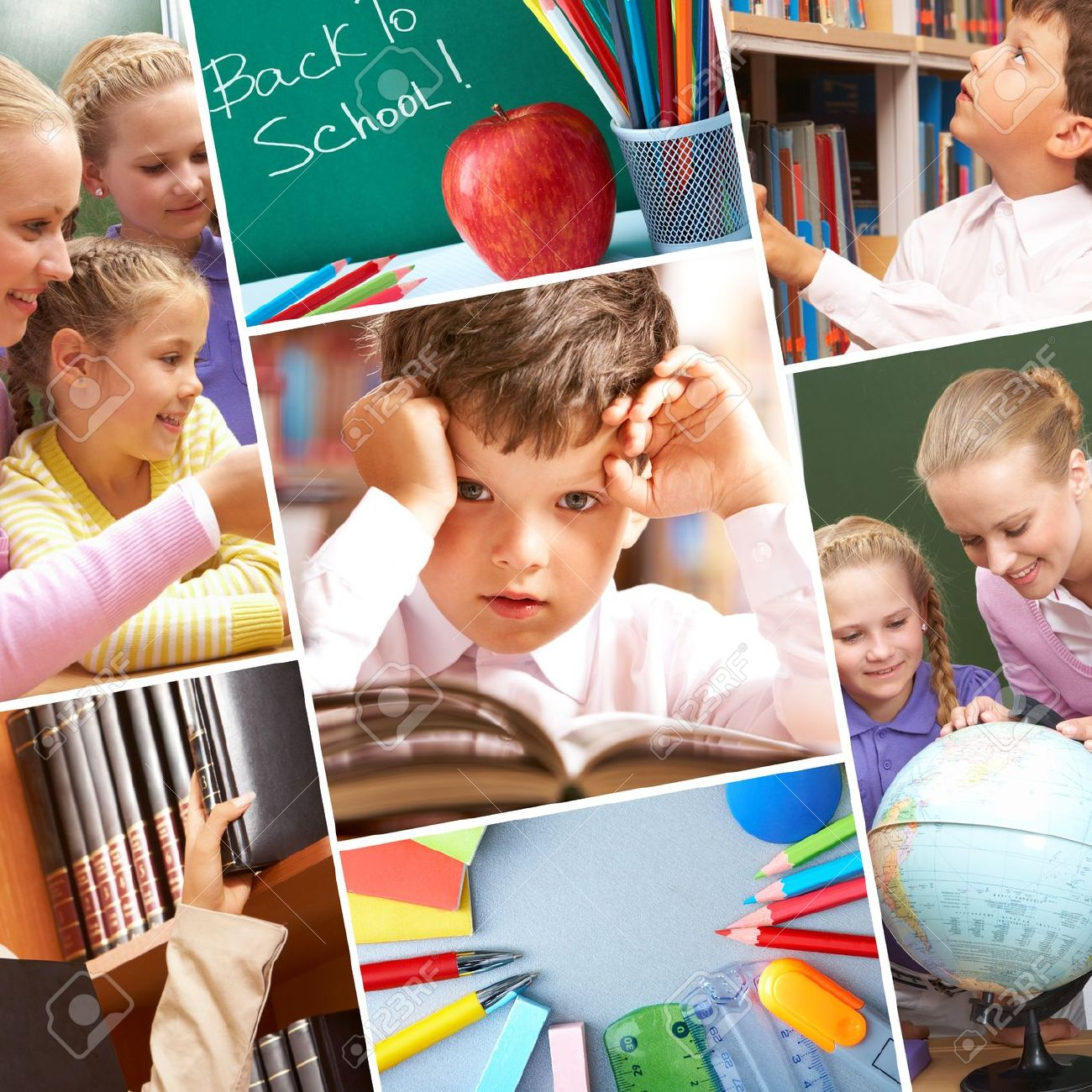 Collage of schoolchildren in studying process and education objects Stock Photo - 7601972