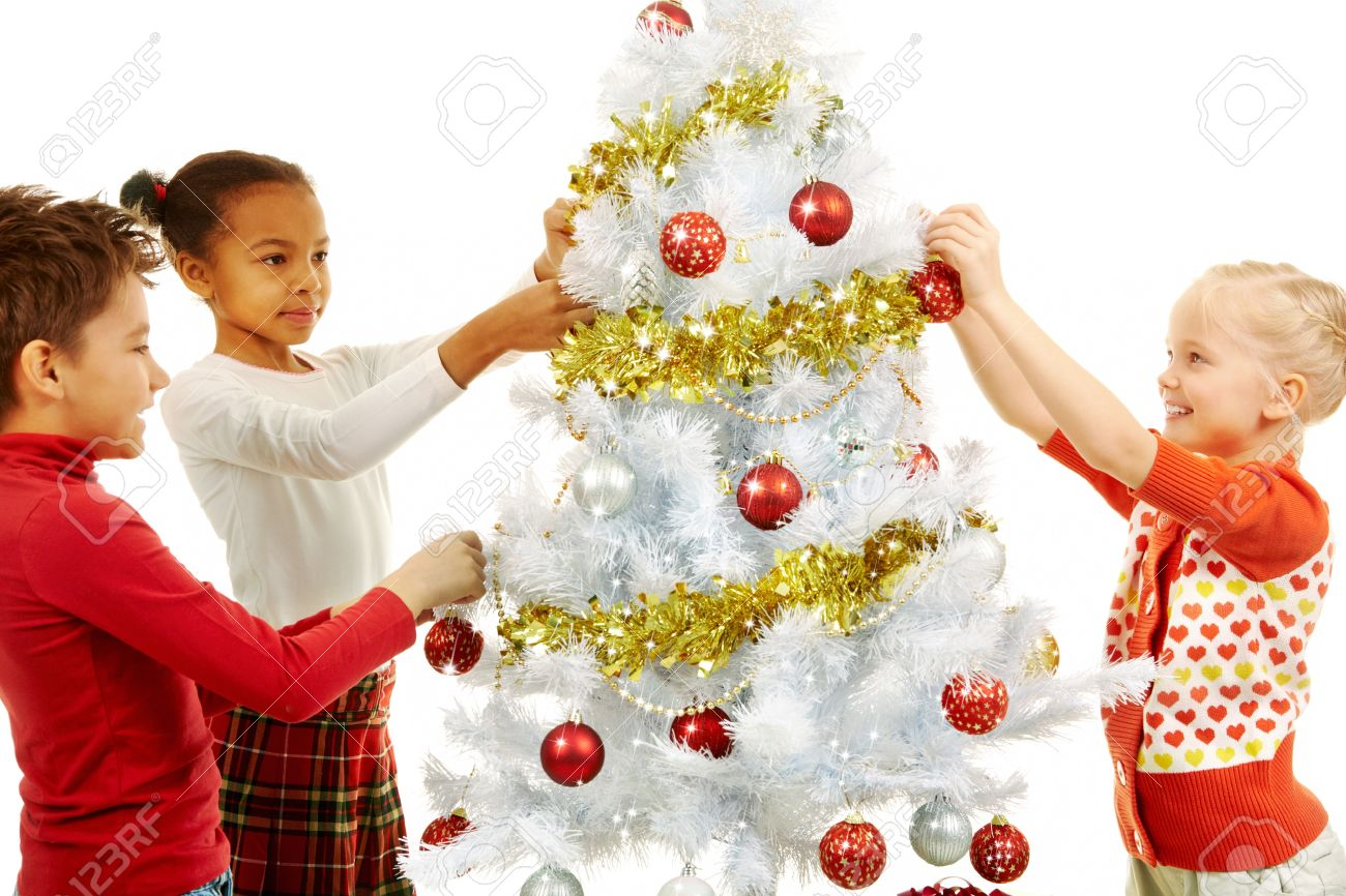Image Of Smiling Children Decorating Christmas Tree Stock Photo ...