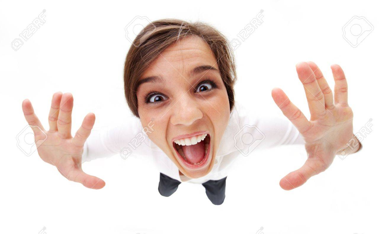 High angle view of a girl screaming Stock Photo - 8015742