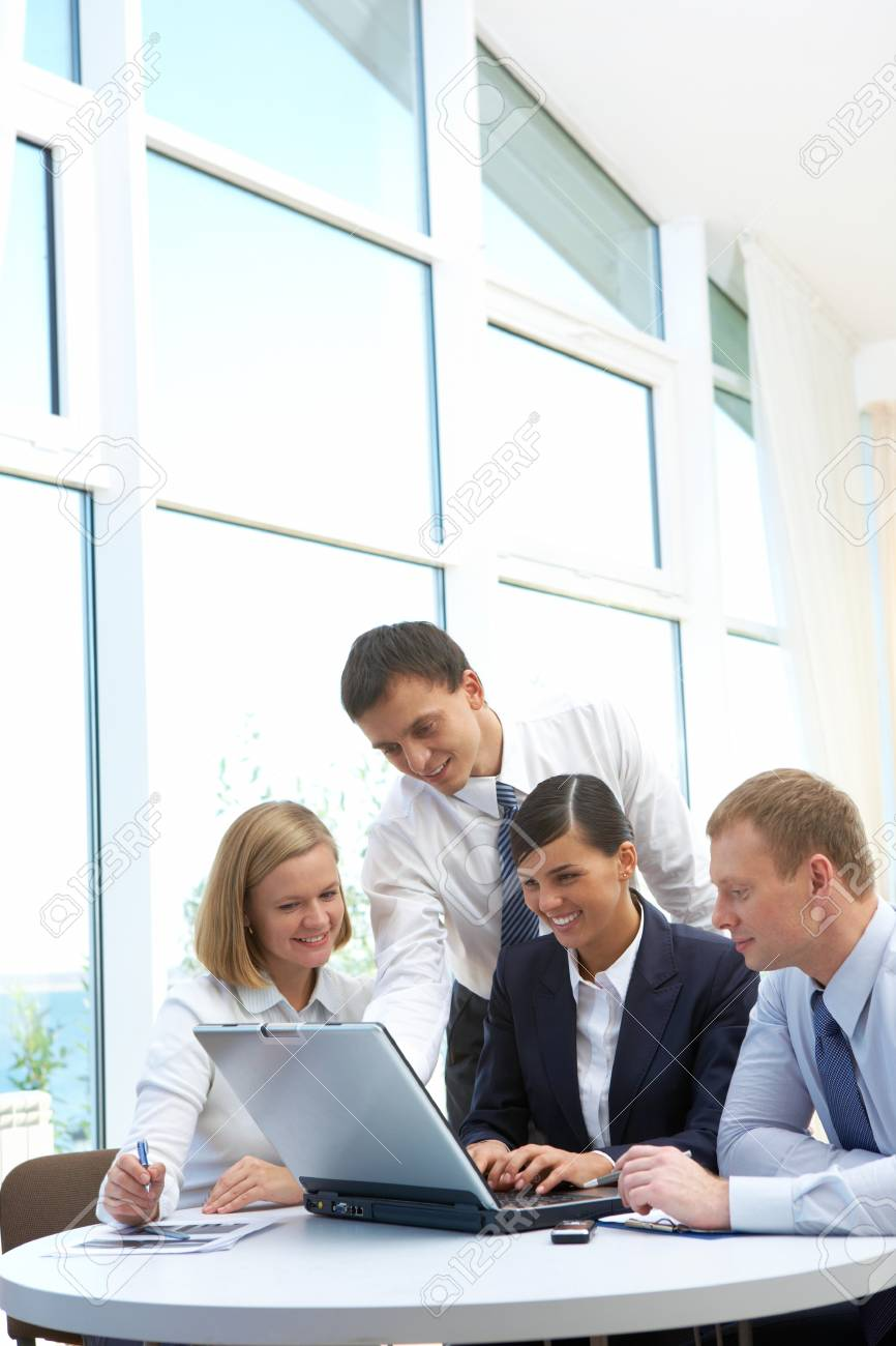 Photo of confident partners planning work at meeting in office Stock Photo - 8212382