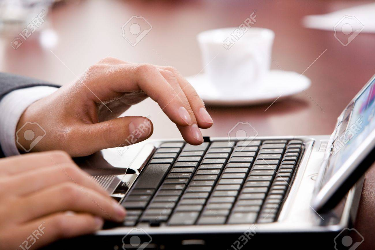 image of hand preparing to type a letter stock photo 8314251