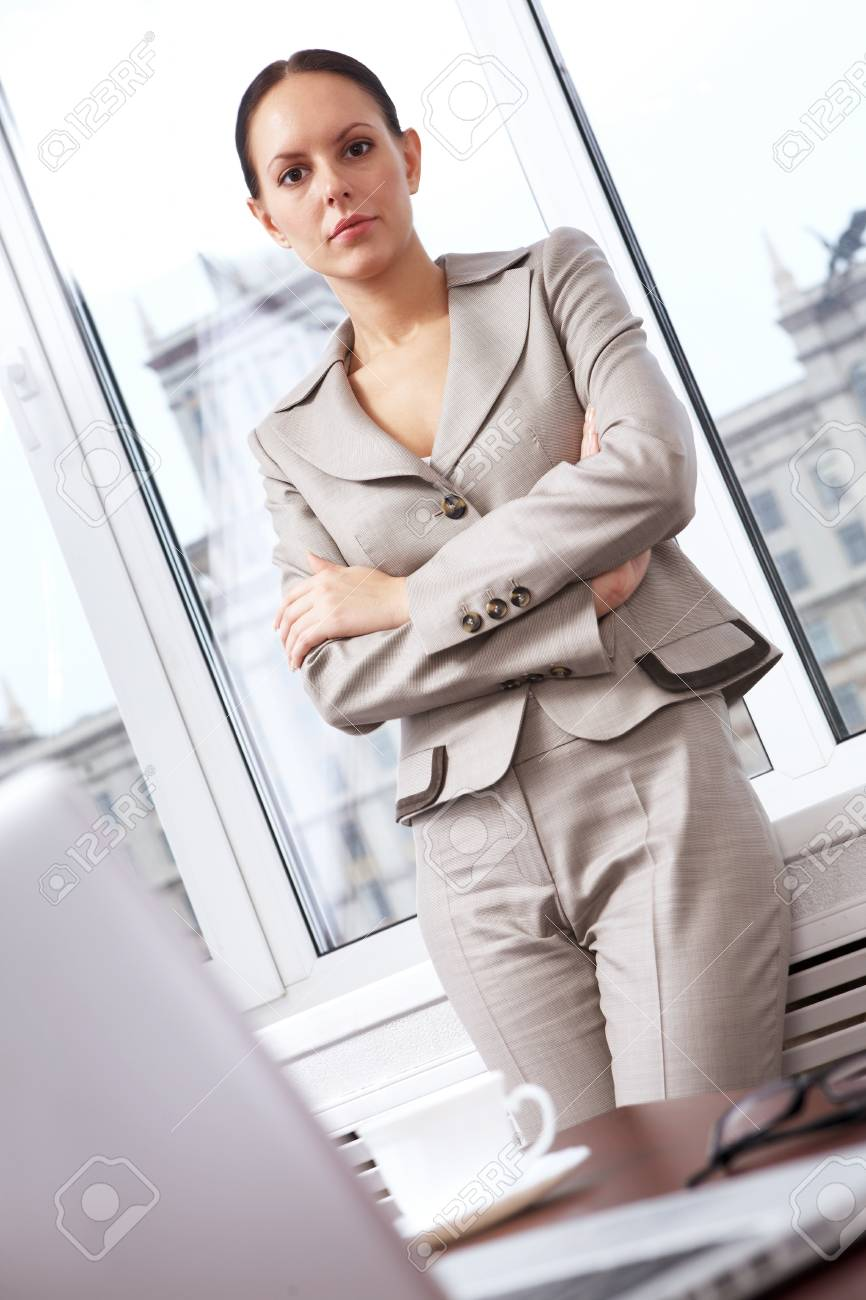 Portrait of a successful businesswoman looking at camera in office Stock Photo - 8357202