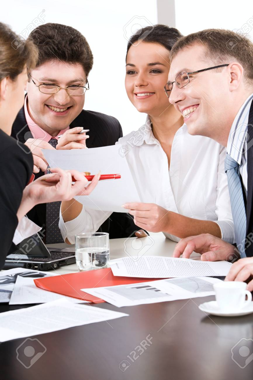 People listening to smart woman during interview Stock Photo - 8393512